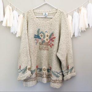 Vintage Grandma Sweater Tan Wool Floral Oversized